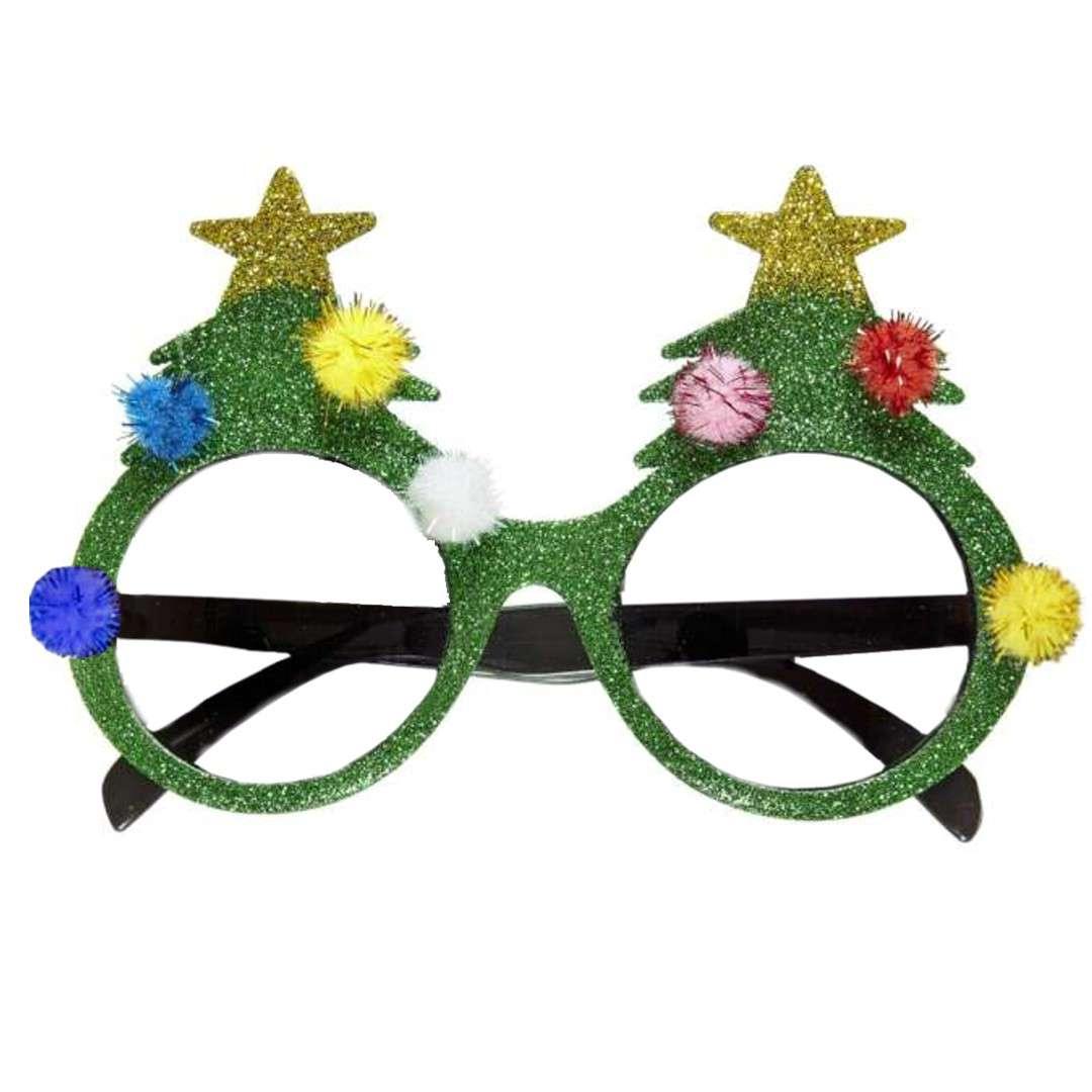 "Okulary party ""Brokatowe choinki"", zielone, Folat"