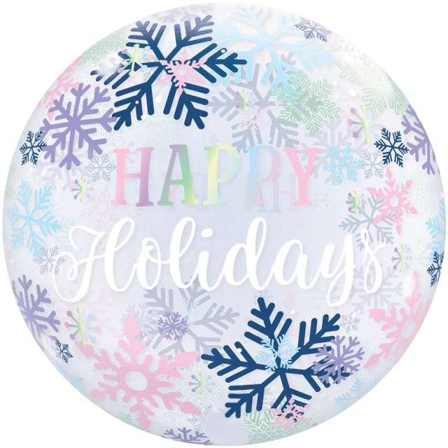 _xx_Balon foliowy 22 cale QL Bubble Poj. Happy holidays płatki ?niegu