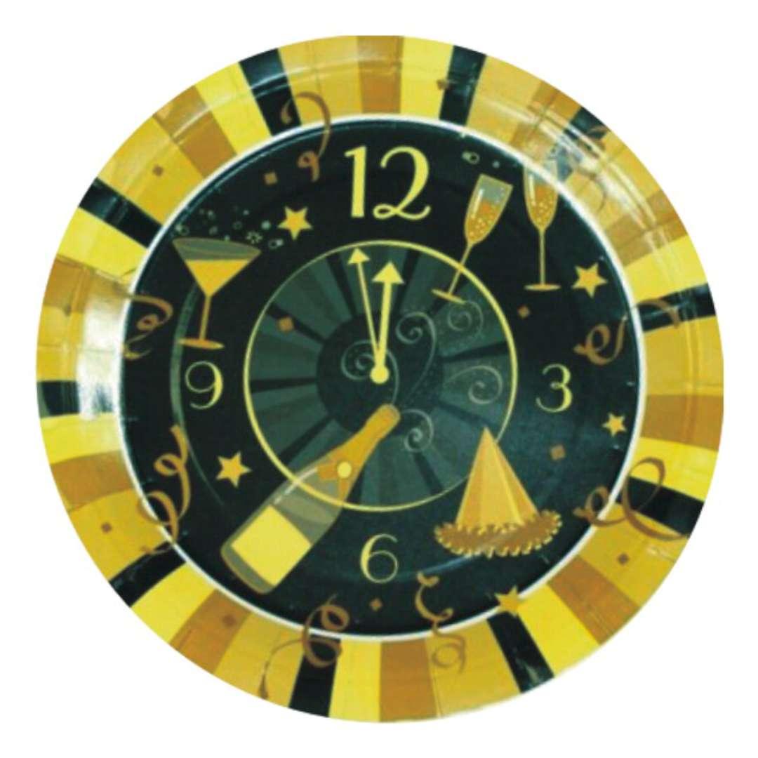 """Talerzyki papierowe """"Noworoczny zegar"""", złote, Godan, 18 cm, 6 szt"""