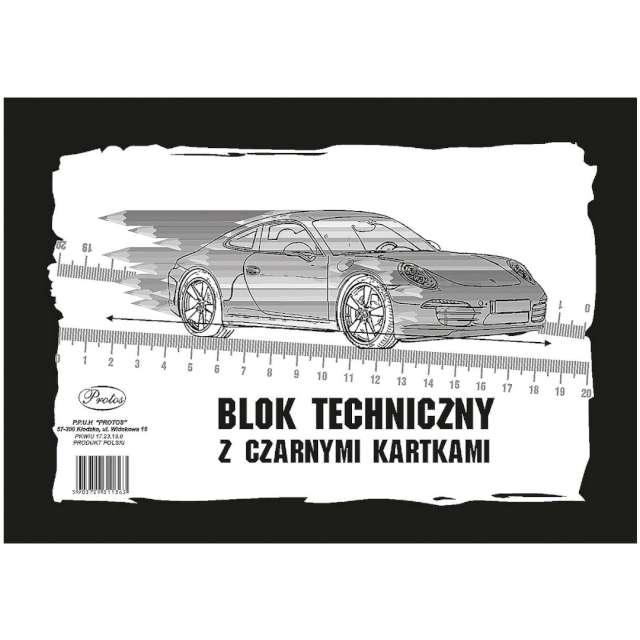 "Blok techniczny ""Classic A4"", czarny, Protos, 10 kart."