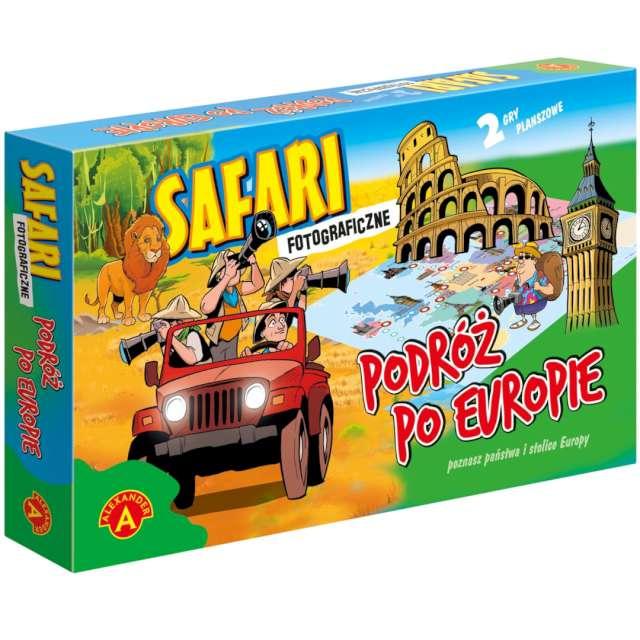 """Gra planszowa """"2w1 - Safari foto i Podróż po Europie """", Alexander, od 5 lat"""