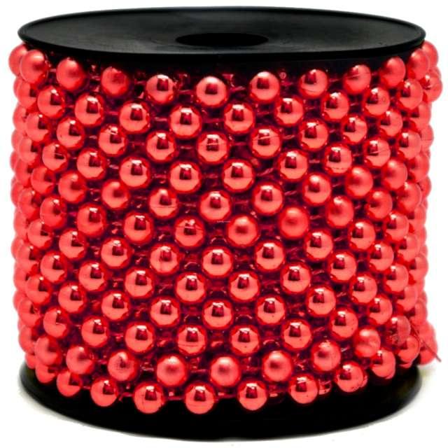 Łańcuch choinkowy Korale na szpuli czerwone 8 mm Czakos 1000 cm