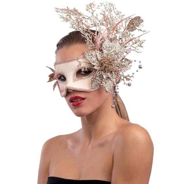 """Maska karnawałowa """"Wenecka - Kwiaty"""", różowo-złota, Carnival Toys"""