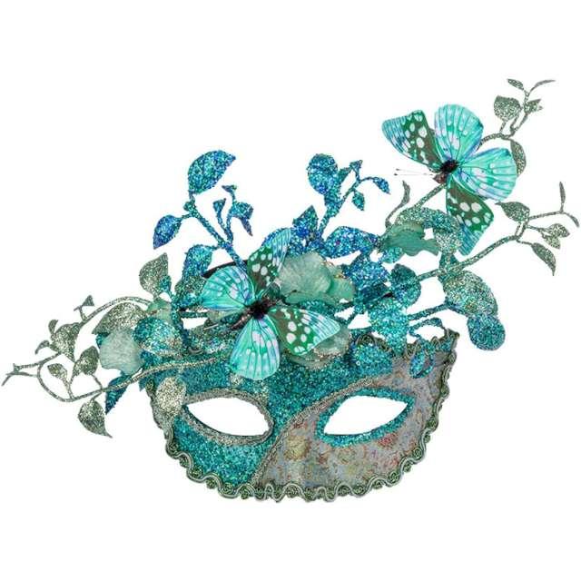 """Maska karnawałowa """"Wenecka - Motyle i kwiaty"""", turkusowa, Carnival Toys"""