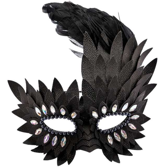 """Maska karnawałowa """"Wenecka - Pióra"""", czarna, Carnival Toys,"""