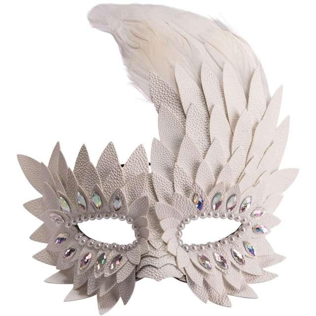 """Maska karnawałowa """"Wenecka - Pióra"""", biała, Carnival Toys,"""