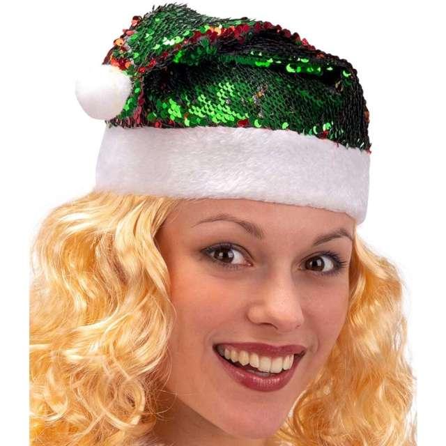 Czapka Mikołaj - dwukolorowe cekiny czerwono-zielona Carnival Toys