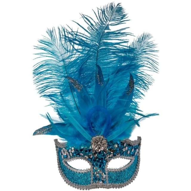 """Maska karnawałowa """"Wenecka - Cekinowa z piórami"""", niebieska, Carnival Toys,"""