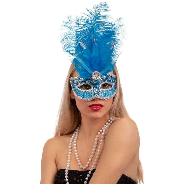 Maska karnawałowa Wenecka - Cekinowa z piórami niebieska Carnival Toys