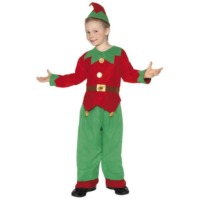 """Strój dla dzieci """"Elf"""", czerwono-zielony, Smiffys, rozm. L"""
