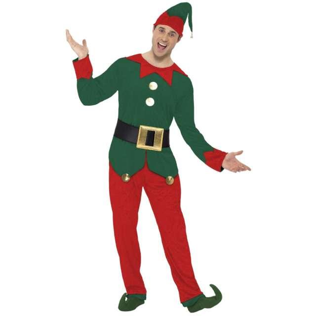 Strój dla dorosłych Elf zielono-czerwony Smiffys rozm. L