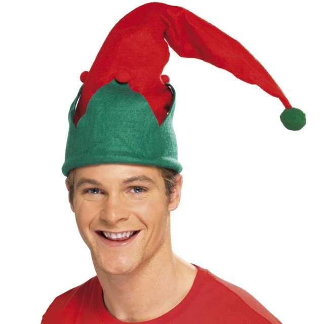 """Czapka """"Elf z pomponikami"""", czerwona, Smiffys"""