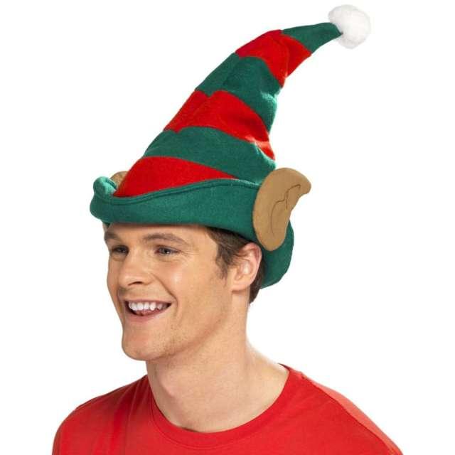 """Czapka """"Elf z uszami w paski"""", czerwono-zielona, Smiffys"""