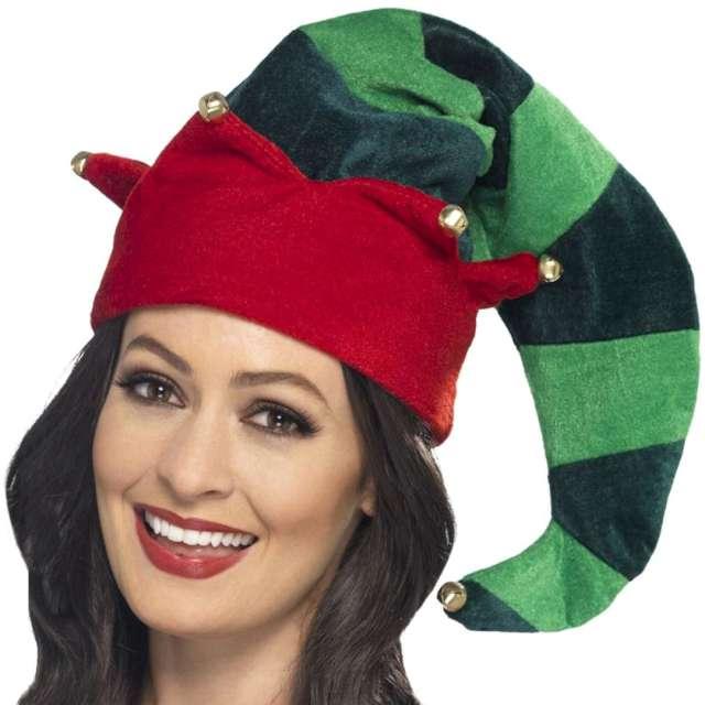 """Czapka """"Elf w paski"""", czerwono-zielona, Smiffys"""