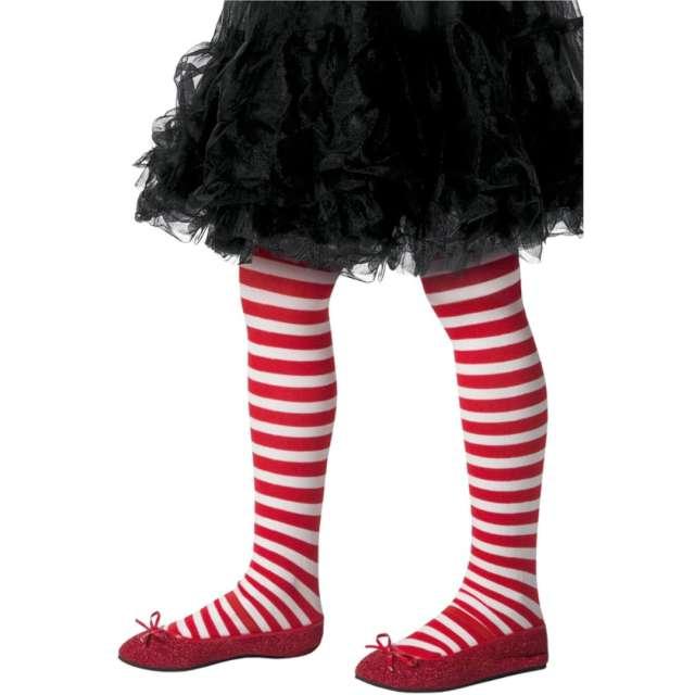 """Rajstopy dla dzieci """"Paski"""", biało-czerwone, Smiffys, rozm. 8-12 lat"""
