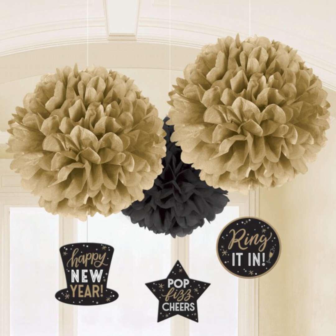 Pompon bibułowy Happy New Year złoto-czarny Amscan kompl.