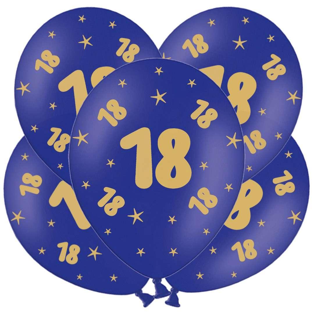"""Balony lateksowe """"Gold 18"""", granatowe, Grabo, 12"""", 5 szt"""