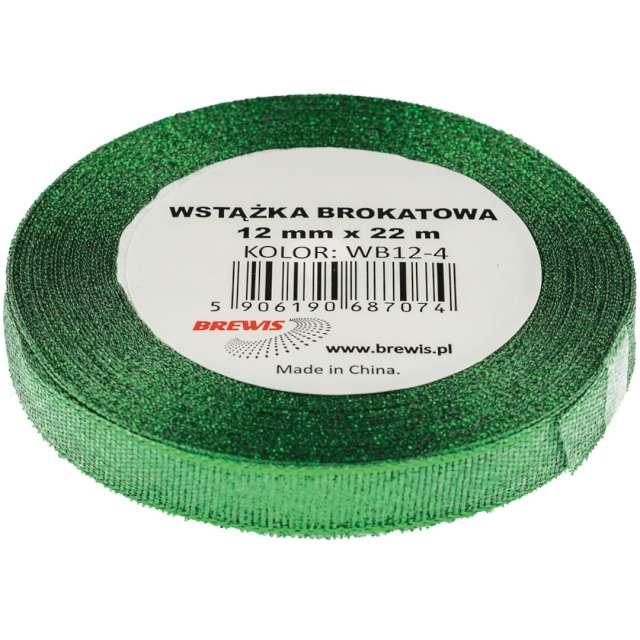 "Tasiemka brokatowa ""Classic"", zielona, Brewis, 12 mm / 22 m"