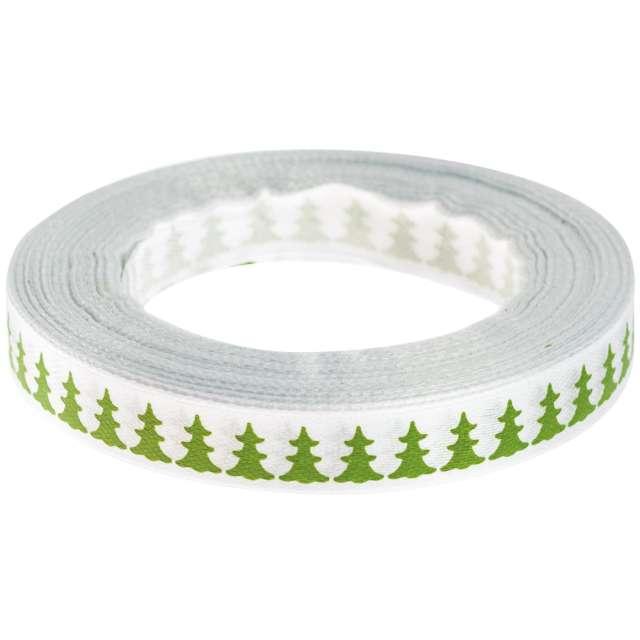 """Tasiemka satynowa """"Świąteczna - Zielone choinki"""", biała, Brewis, 12 mm / 22 m"""