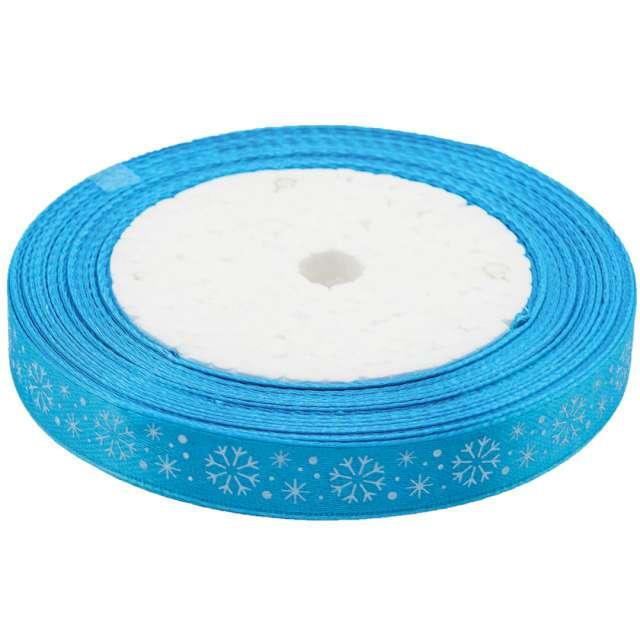 """Tasiemka satynowa """"Świąteczna - Białe śnieżynki"""", niebieska jasna, Brewis, 12 mm / 22 m"""