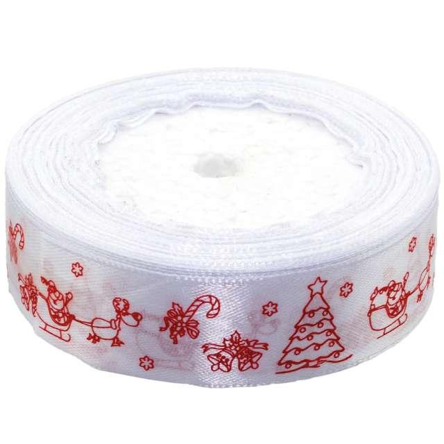 """Tasiemka satynowa """"Świąteczna - Sanie Mikołaja"""", biała, Brewis, 25 mm / 22 m"""