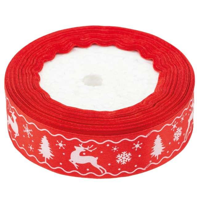 """Tasiemka satynowa """"Świąteczny wzór"""", czerwona, Brewis, 25 mm / 22 m"""