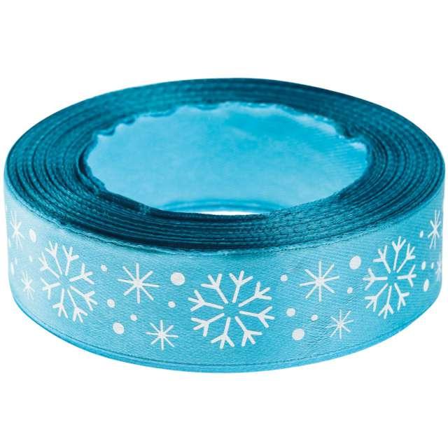 Tasiemka satynowa Świąteczna - Białe śnieżynki niebieska jasna Brewis 25 mm / 22 m