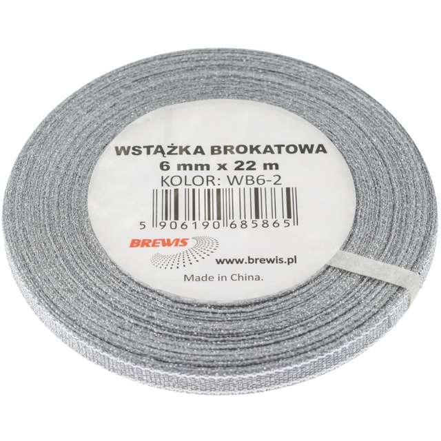 """Tasiemka brokatowa """"Classic"""", srebrna, Brewis, 6 mm / 22 m"""