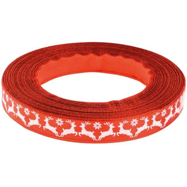 """Tasiemka satynowa """"Świąteczna - Białe renifery"""", czerwona, Brewis, 12 mm / 22 m"""