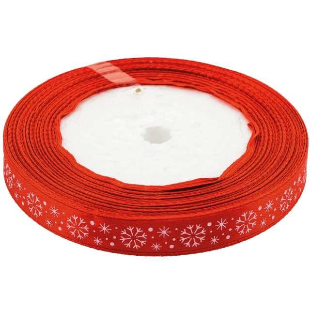 """Tasiemka satynowa """"Świąteczna - Białe śnieżynki"""", czerwona, Brewis, 12 mm / 22 m"""