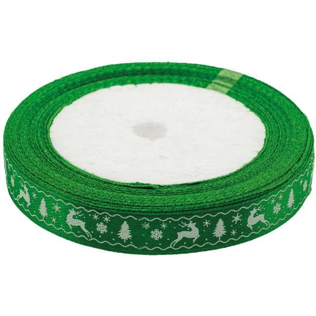 """Tasiemka satynowa """"Świąteczny wzór"""", zielona, Brewis, 12 mm / 22 m"""