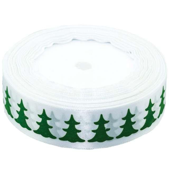 """Tasiemka satynowa """"Świąteczna - Zielone choinki"""", biała, Brewis, 25 mm / 22 m"""