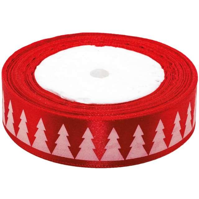 """Tasiemka satynowa """"Świąteczna - Białe choinki"""", czerwona, Brewis, 25 mm / 22 m"""