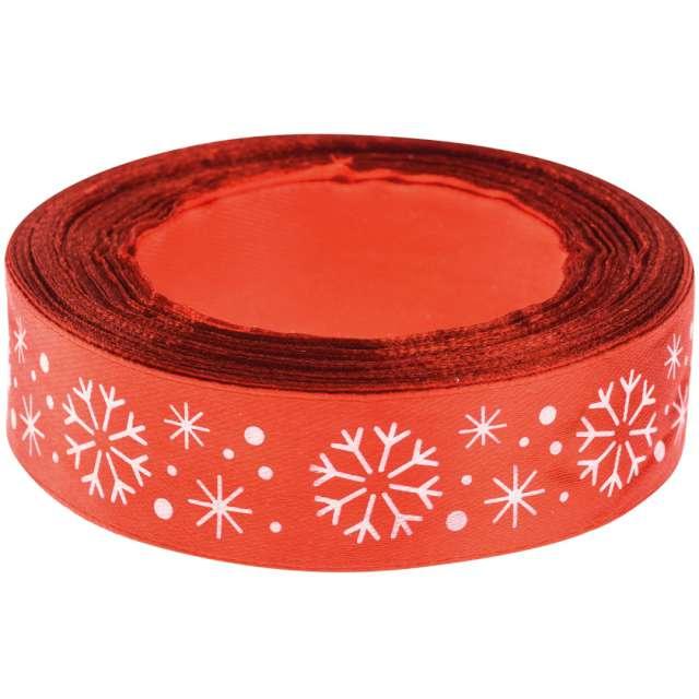 """Tasiemka satynowa """"Świąteczna - Białe śnieżynki"""", czerwona, Brewis, 25 mm / 22 m"""