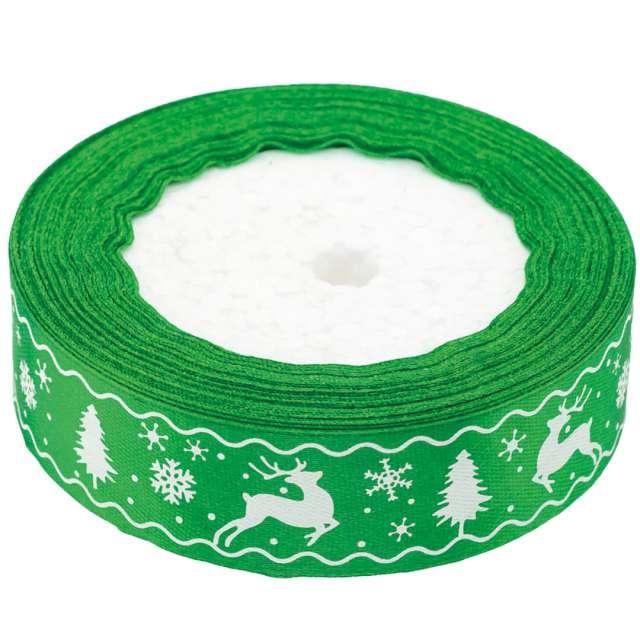 """Tasiemka satynowa """"Świąteczny wzór"""", zielona, Brewis, 25 mm / 22 m"""