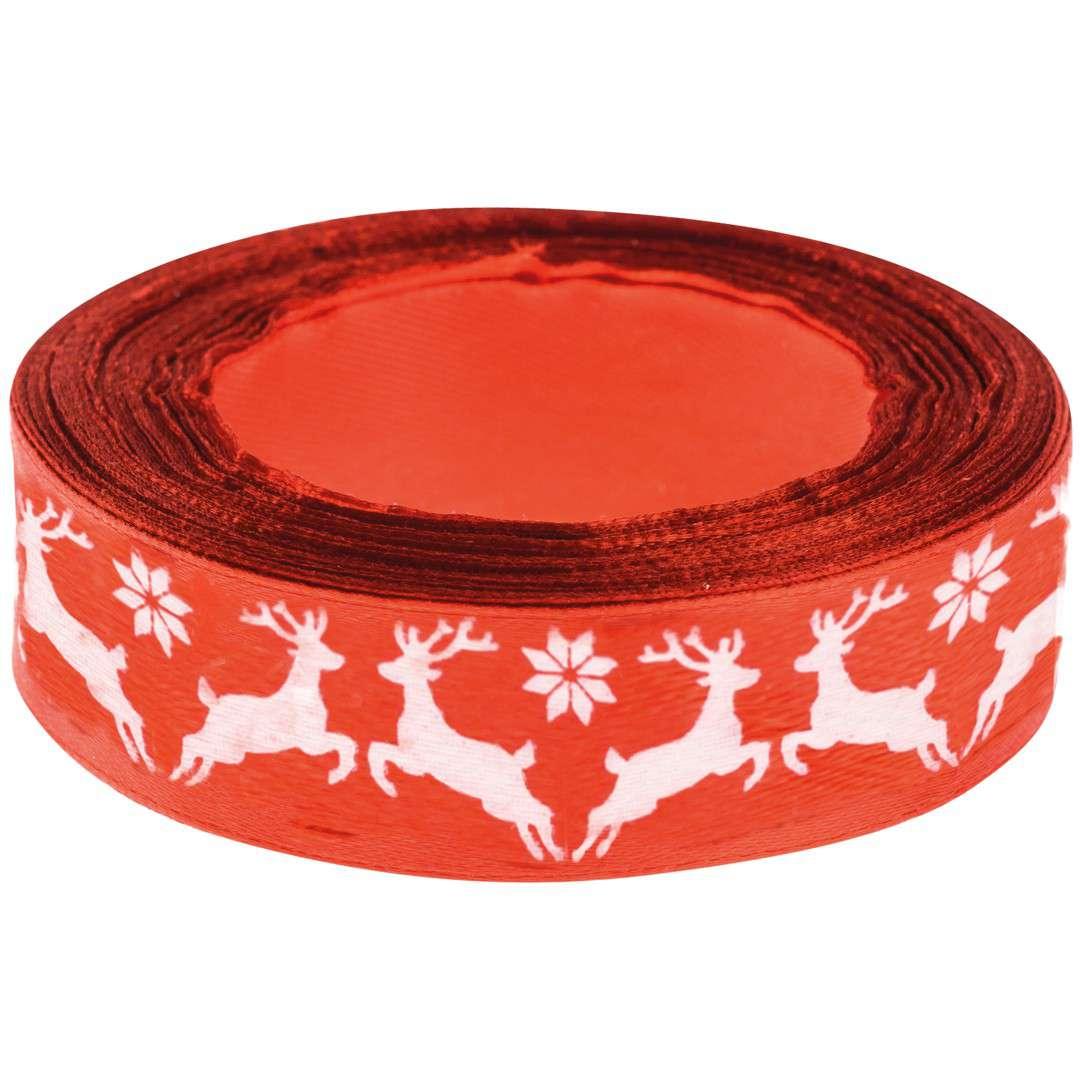 """Tasiemka satynowa """"Świąteczna - Białe renifery"""", czerwona, Brewis, 25 mm / 22 m"""