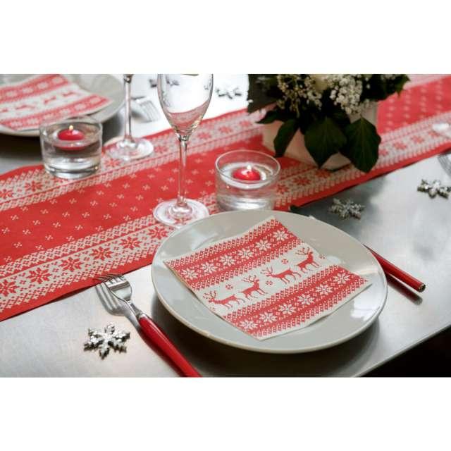 Serwetki Święteczny wzór SANTEX czerwone 33cm 20 szt