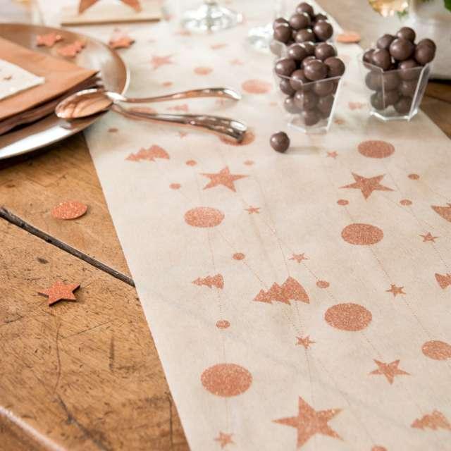Bieżnik Świąteczne wzory złoto-różowe biały Santex 500 x 30 cm