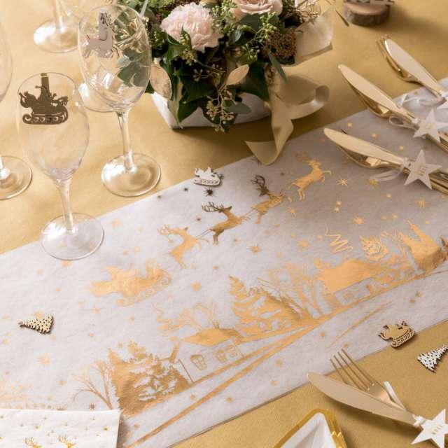Bieżnik Zaprzęg Świętego Mikołaja biało-złoty Santex 500 x 30 cm