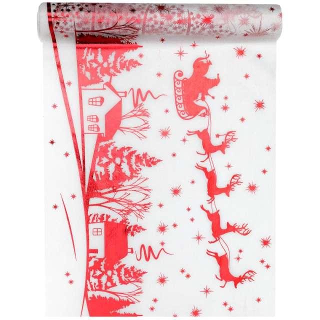 """Bieżnik """"Zaprzęg Świętego Mikołaja"""", biało-czerwony, Santex, 500 x 30 cm"""