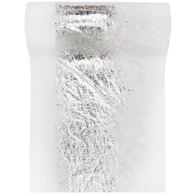 Bieżnik Metaliczne zdobienie biało-srebrny Santex 300 x 14 cm