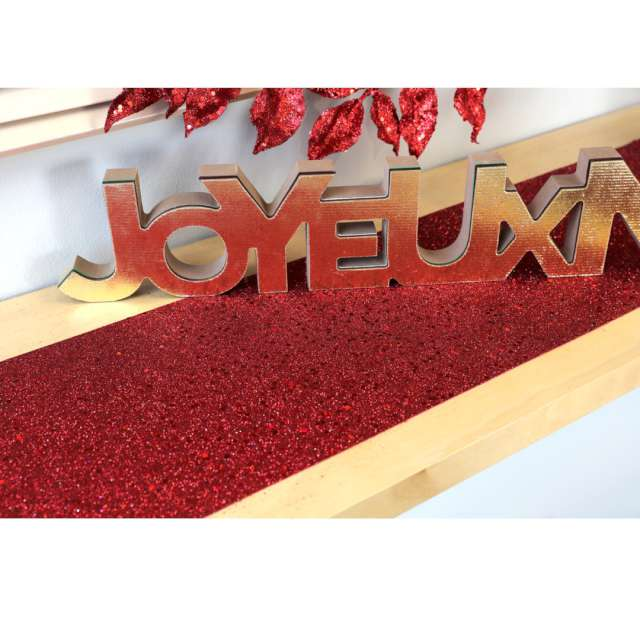 Bieżnik Brokatowy czerwony Santex 500 x 18 cm