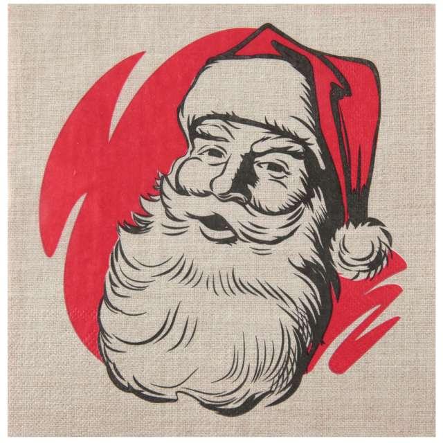 """Serwetki """"Święty Mikołaj - Retro"""", SANTEX, biało-czerwone, 33cm, 20 szt"""