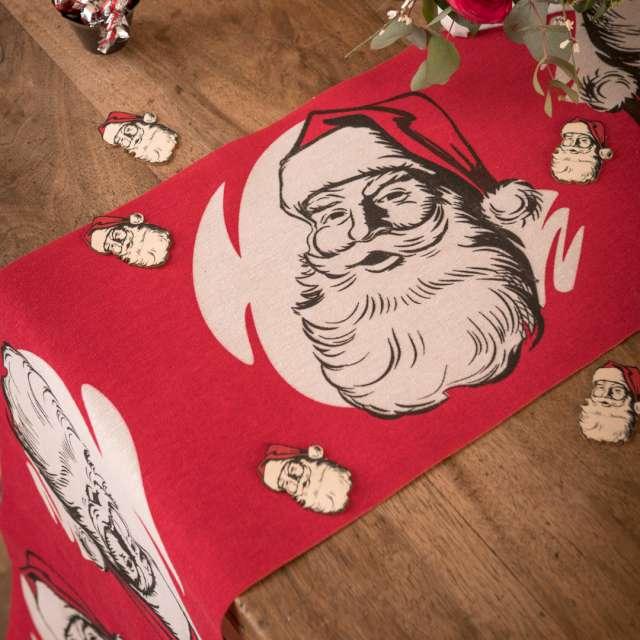 Bieżnik Święty Mikołaj - Retro czerwony Santex 300 x 28 cm