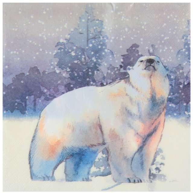 """Serwetki """"Miś polarny w mroźnej scenerii"""", SANTEX, niebieski, 33cm, 20 szt"""