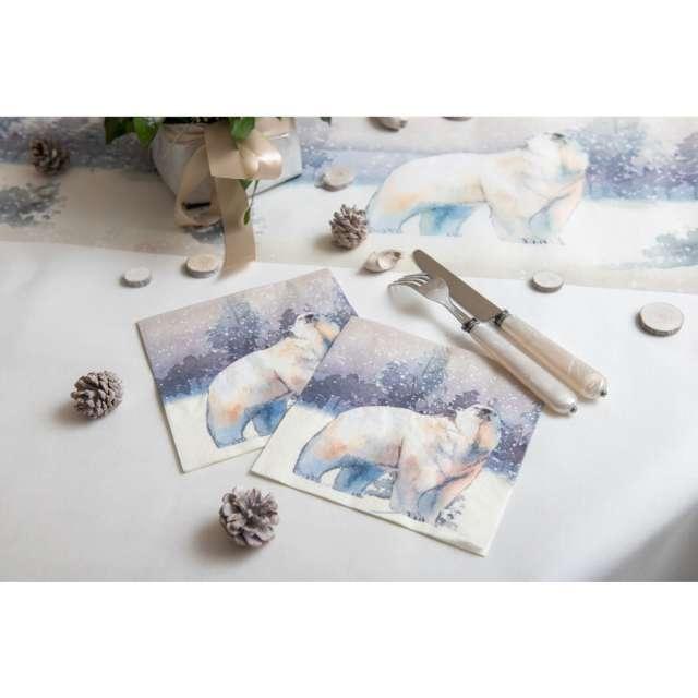 Serwetki Miś polarny w mroźnej scenerii SANTEX niebieski 33cm 20 szt