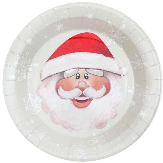 """Talerzyki papierowe """"Uśmiech Świętego Mikołaja"""", SANTEX, 23 cm, 10 szt"""