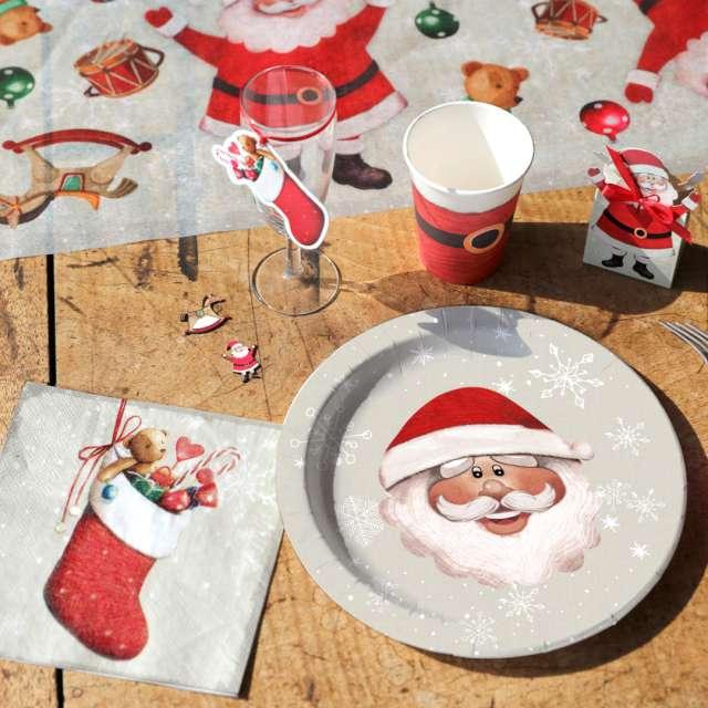 Talerzyki papierowe Uśmiech Świętego Mikołaja SANTEX 23 cm 10 szt