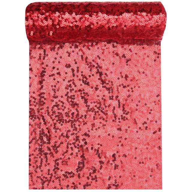 Bieżnik Cekinowy czerwony Santex 300 x 19 cm