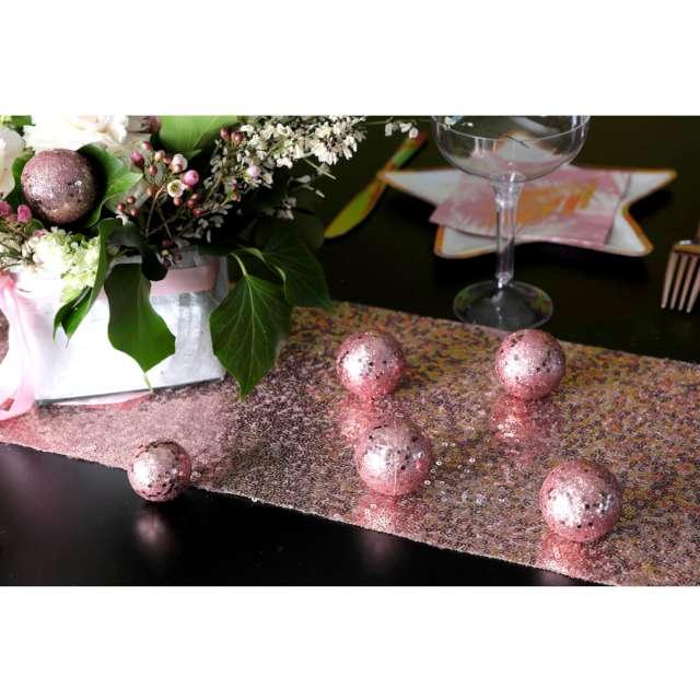 Bieżnik Cekinowy różowe złoto Santex 300 x 19 cm